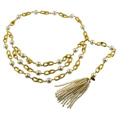 Chanel Vintage 1988 Pearl Tassel Chain Belt