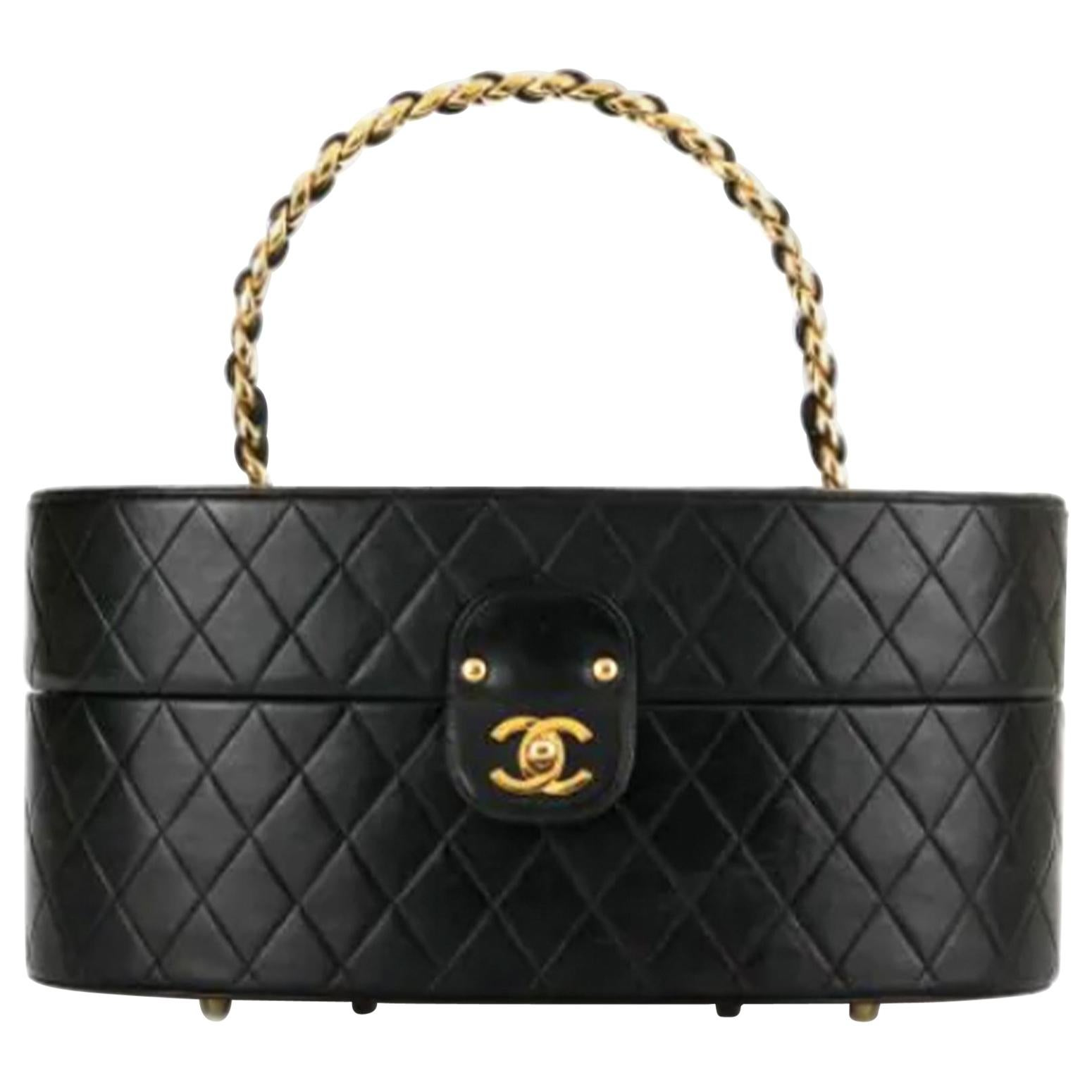 Chanel Vintage 1988 Quilted Black Lambskin Train Case Leather Home Decor Trunk