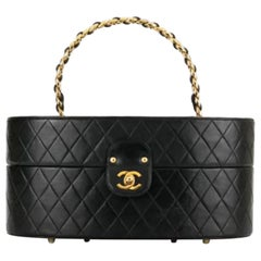 Chanel Vintage 1988 Vanity Quilted Train Case Black Lambskin Leather Vanity