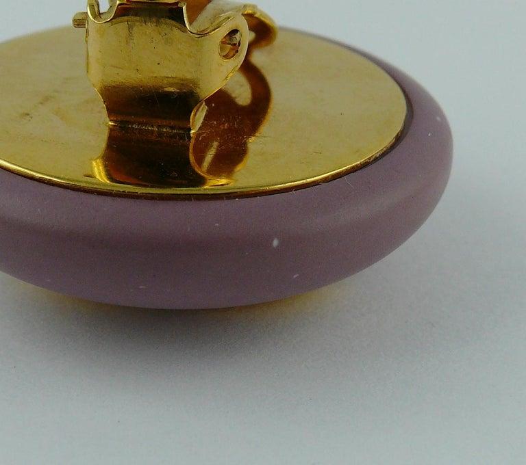 Chanel Vintage 1989 Large Purple Macaron Logo Clip-On Earrings For Sale 6