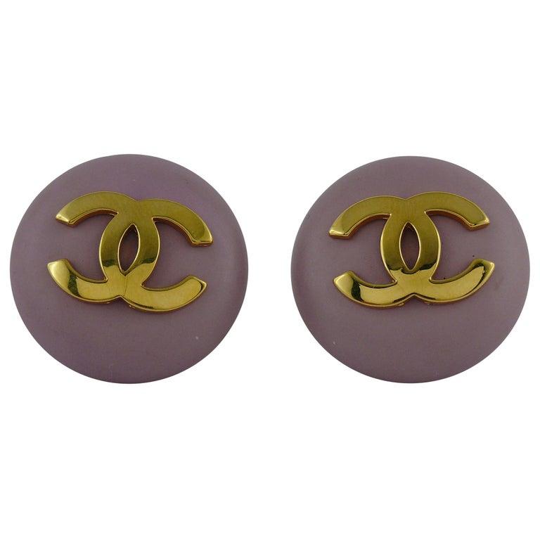 Chanel Vintage 1989 Large Purple Macaron Logo Clip-On Earrings For Sale