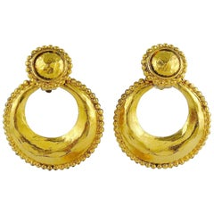 Chanel Vintage 1990 Gold Toned Hammered Door Knocker Clip-On Earrings