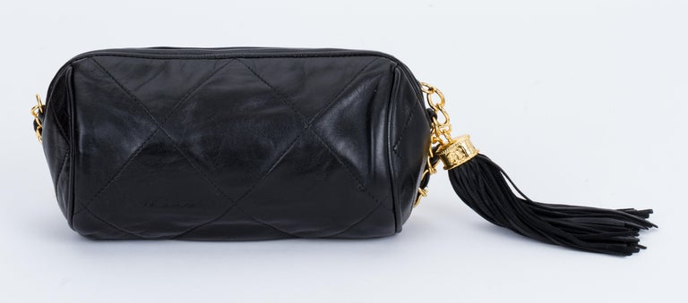 04572f46e567 Chanel Vintage 1990's Black Leather Tassel Evening Bag In Excellent  Condition For Sale In Los Angeles