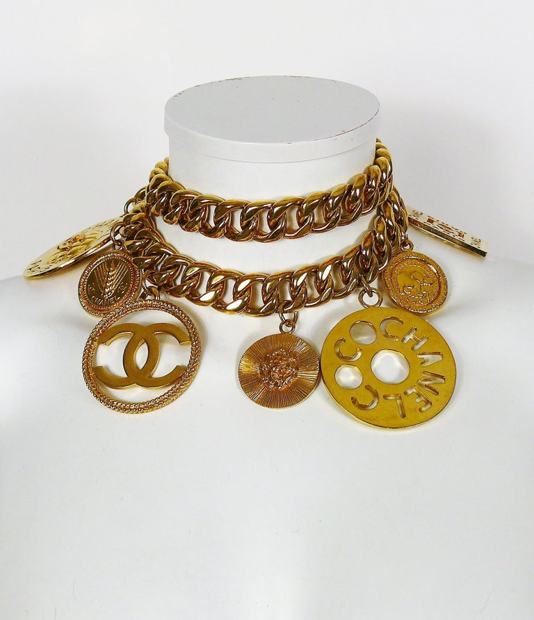 Chanel Vintage 1990s Chunky Gold Toned Chain Belt/Necklace with Charms 5