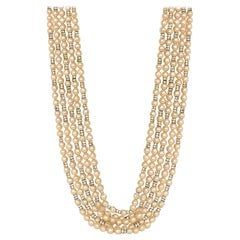 Chanel Vintage 1990s Multi-Strand Faux Pearl & Crystal Rondelle Necklace