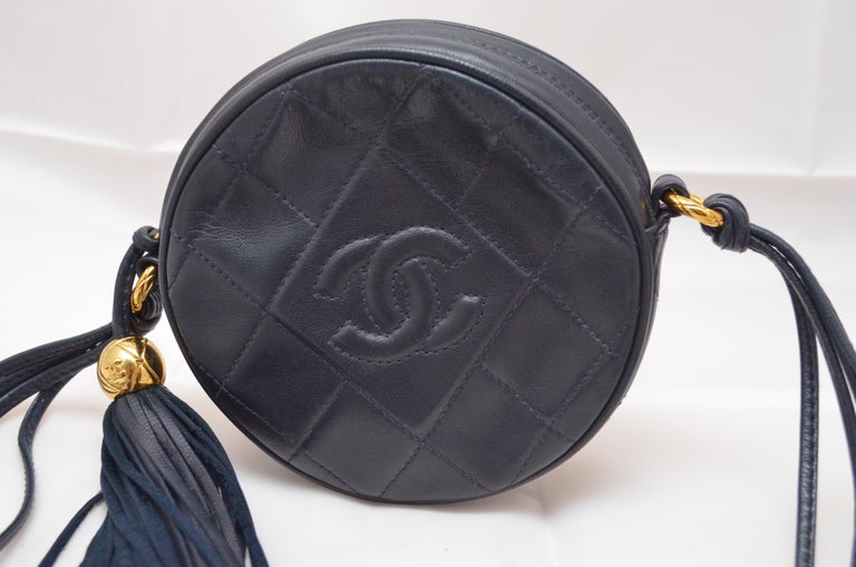 Black Chanel Vintage 1990's Navy Leather Circle Crossbody Bag