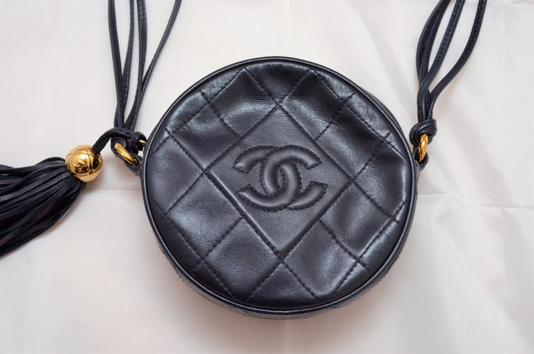 Chanel Vintage 1990's Navy Leather Circle Crossbody Bag 1