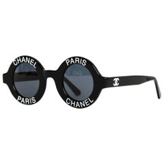 Chanel Vintage 1990s Runway Black Round Sunglasses w/ CHANEL PARIS