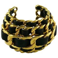 Chanel Vintage 1991 Iconic Leather Chain Massive Cuff Bracelet