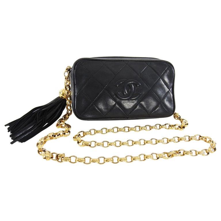 ef19ceef Chanel Vintage 1991 Mini Black Lambskin CC Camera Bag