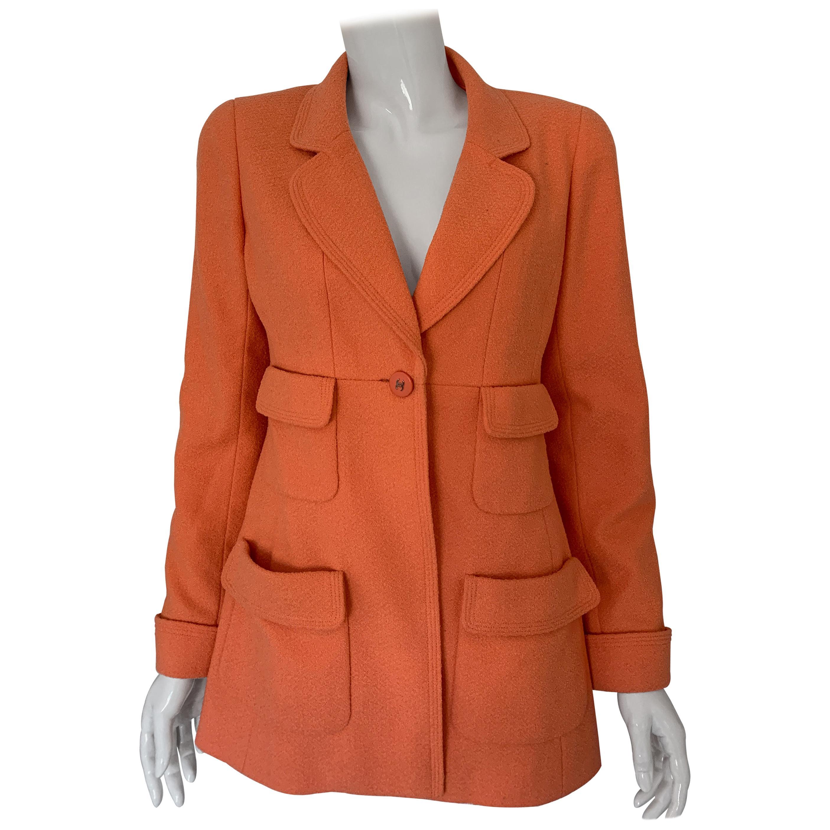 Chanel Vintage 1992 Single Breasted Coral Jacket