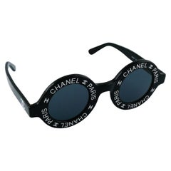 Chanel Vintage 1993 Iconic Chanel Paris CC Logo Round Black Runway Sunglasses