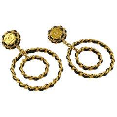 Chanel Vintage 1993 Jumbo Logo Double Hoop Leather Chain Dangle Earrings