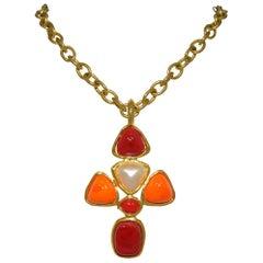 Chanel Vintage 1993 P Chain Necklace with Gripoix Pendant