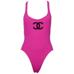 Chanel Vintage 1993 Swimsuit with CC logo a Flags Straps