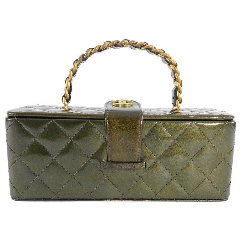 2fbc8ae9ecf5 Chanel Vintage 1994 Olive Green Patent Vanity Case Bag. True vintage  limited edition box bag