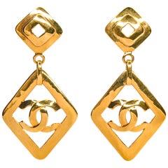 Chanel Vintage 1995 Gold Tone CC Logo Dangle Clip on Earrings
