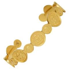 Chanel Vintage 1996 Goldtone CC Coin Cuff Bracelet