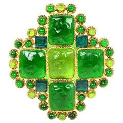 Chanel Vintage 1996 Green Glass Stone Cross Brooch/Pendant