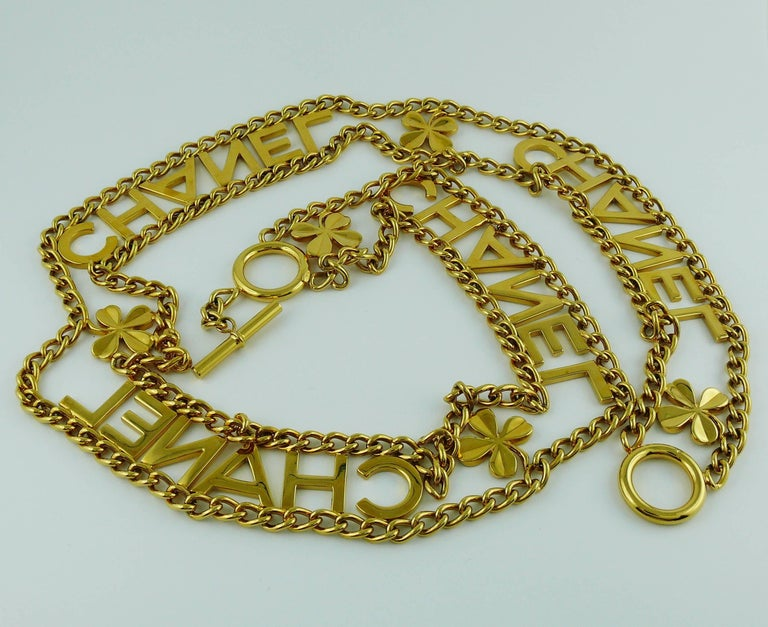 Chanel Vintage Gold Toned Chain Belt with Chanel Letters and Clovers, 1998  For Sale 5