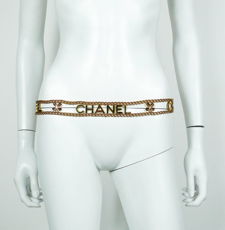 Chanel Vintage Gold Toned Chain Belt with Chanel Letters and Clovers, 1998  For Sale 1