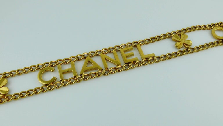 Chanel Vintage Gold Toned Chain Belt with Chanel Letters and Clovers, 1998  For Sale 3