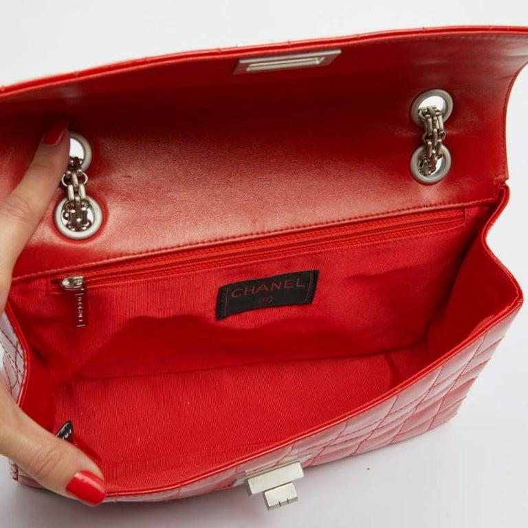 CHANEL Vintage 2.55 Red Varnished Bag  For Sale 6