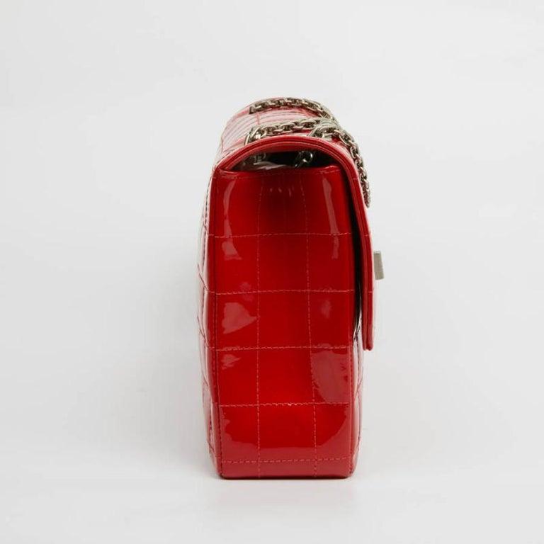 CHANEL Vintage 2.55 Red Varnished Bag  For Sale 1