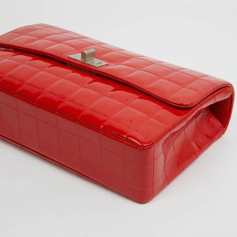 CHANEL Vintage 2.55 Red Varnished Bag  For Sale 3
