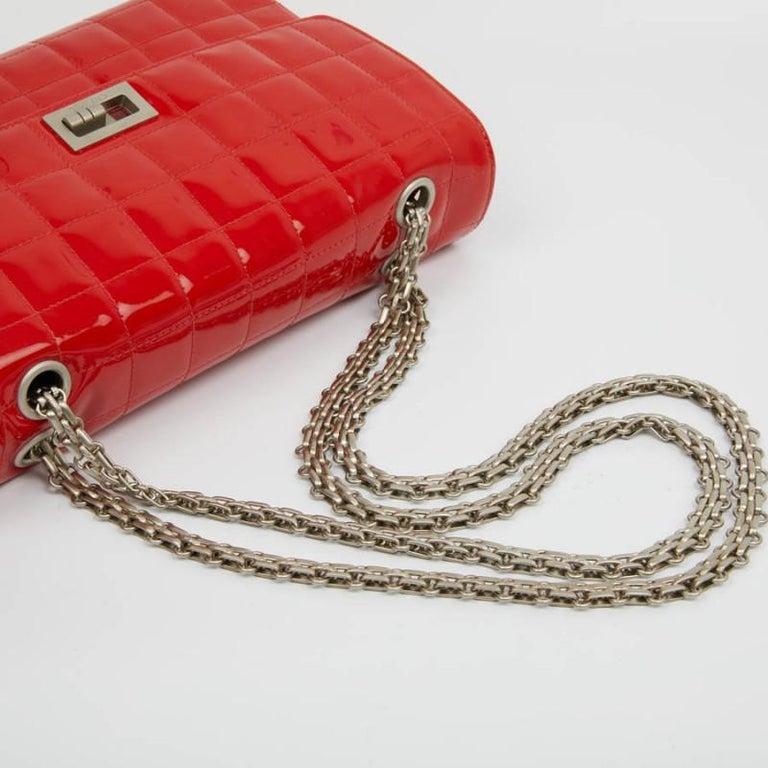 CHANEL Vintage 2.55 Red Varnished Bag  For Sale 4