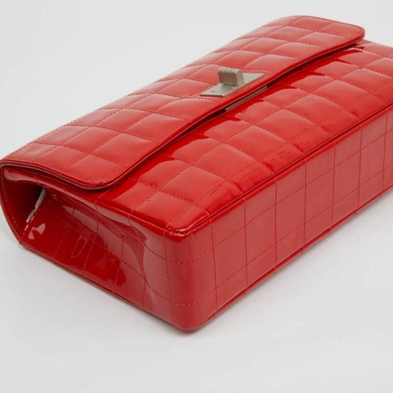 CHANEL Vintage 2.55 Red Varnished Bag  For Sale 5