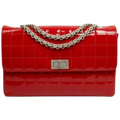 CHANEL Vintage 2.55 Red Varnished Bag