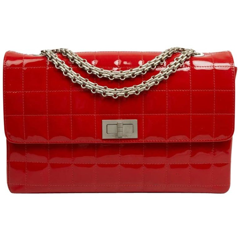 CHANEL Vintage 2.55 Red Varnished Bag  For Sale
