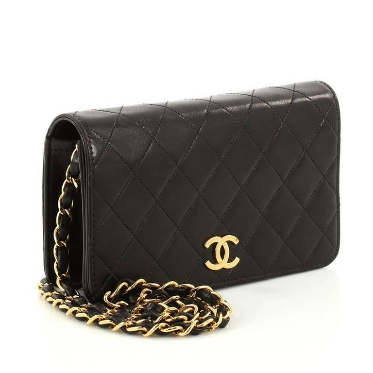 e2704f8085a89b Black Chanel Vintage 3 Way Full Flap Bag Quilted Lambskin Mini For Sale