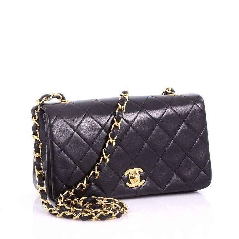 77dcf77cce78 Black Chanel Vintage 3 Way Full Flap Bag Quilted Lambskin Mini For Sale
