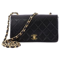 Chanel Vintage 3 Way Full Flap Bag Quilted Lambskin Mini