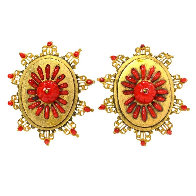 Chanel Vintage '70s-'80s Red & Gold Clip On Earrings