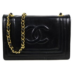 Chanel Vintage '80s Black Lambskin Leather CC Stitched Bag