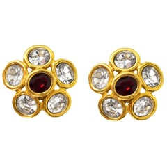 Chanel Vintage '89 Red & White Crystal Clip On Earrings