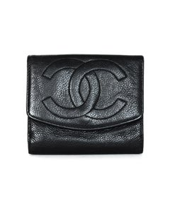 Chanel Vintage 90's Black Caviar Leather Compact Timeless CC Wallet