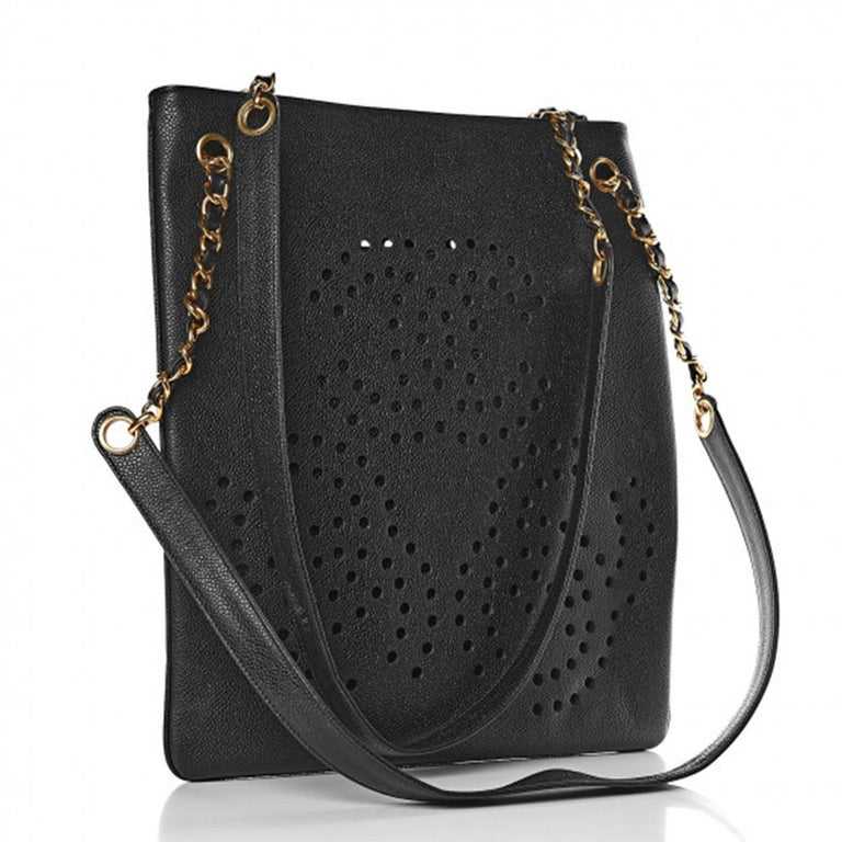 Chanel Vintage 90's Caviar Perforated CC Black Tote Bag For Sale 1