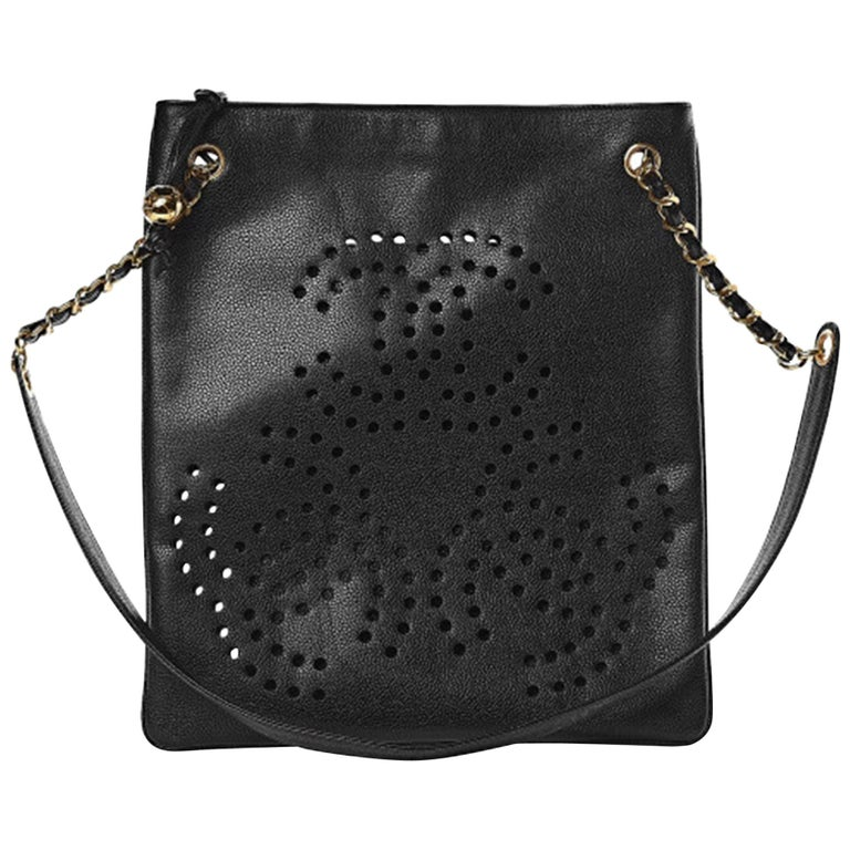 Chanel Vintage 90's Caviar Perforated CC Black Tote Bag For Sale