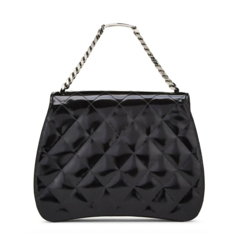 Women's or Men's Chanel Vintage 90's Mini Timeless Tote Id Bracelet Black Patent Leather Clutch For Sale