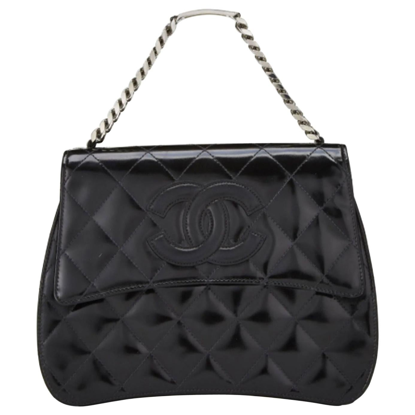 Chanel Vintage 1997 Name Plate Black Patent Leather Top Handle Bag