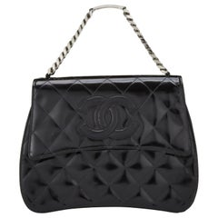 Chanel Vintage 90's Mini Timeless Tote Id Bracelet Black Patent Leather Clutch
