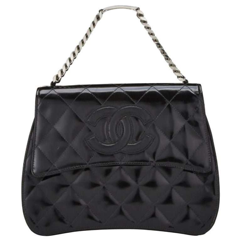 Chanel Vintage 90's Mini Timeless Tote Id Bracelet Black Patent Leather Clutch For Sale