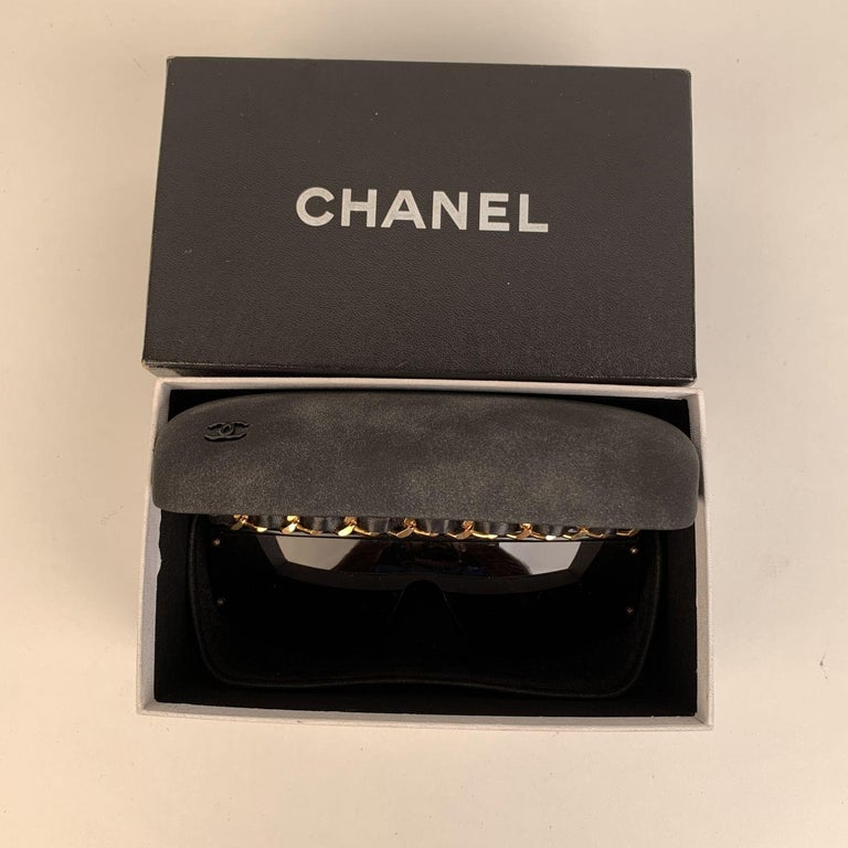 Chanel Vintage 90s Rare Black Leather Chain Sunglasses Mod 01455 For Sale 5