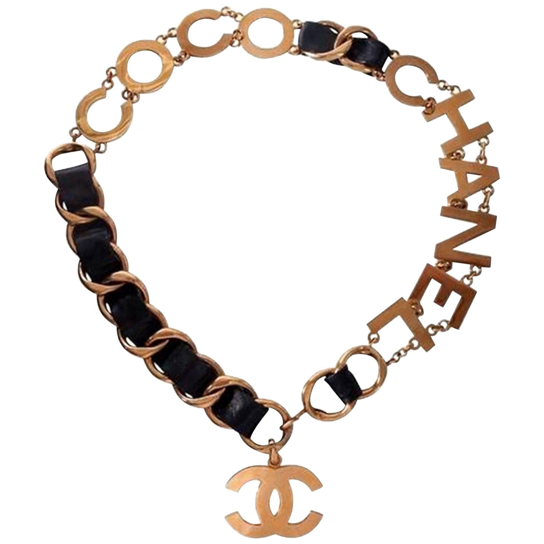 Chanel Vintage 90's Runway Collector COCO CHANEL Gold Letters Belt Necklace Rare