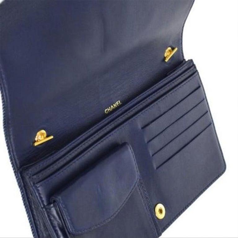 Purple Chanel Vintage 90's Wallet On A Chain Denim & Lambskin Leather Cross Body Bag For Sale
