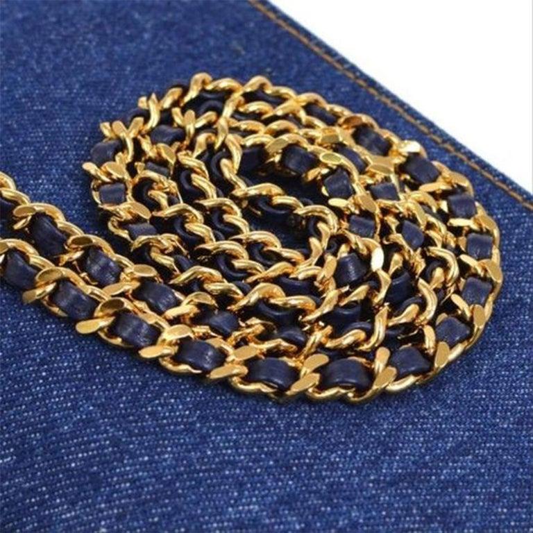 Women's or Men's Chanel Vintage 90's Wallet On A Chain Denim & Lambskin Leather Cross Body Bag For Sale